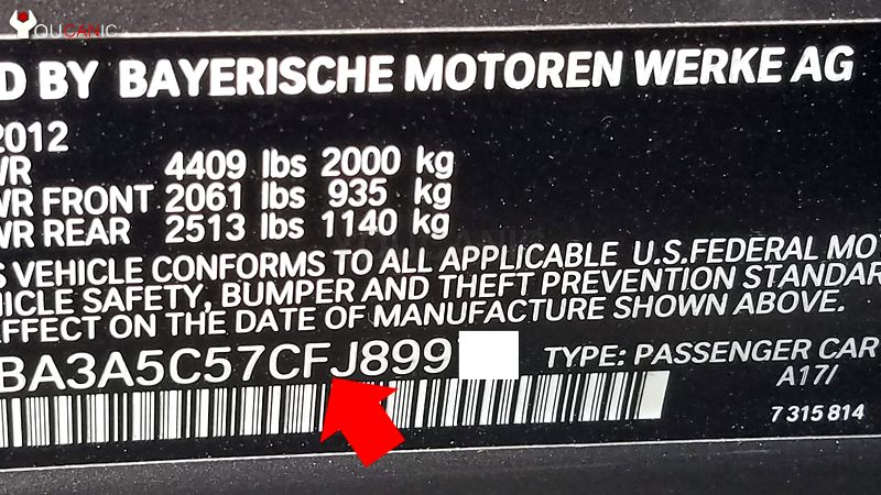 bmw x5 vin number location