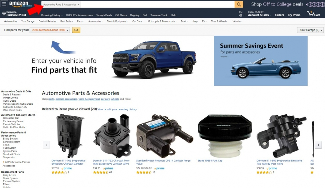 buying car parts on amazon automotive section